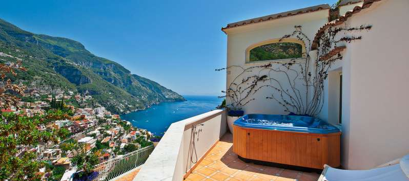 terrace with sea view from the villa in Positano