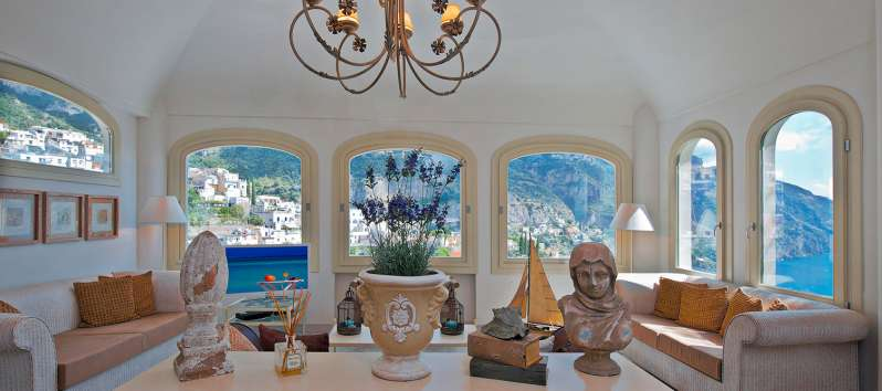 living room overlooking the sea from the villa in Positano