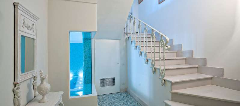 staircase in the villa with indoor pool in Positano