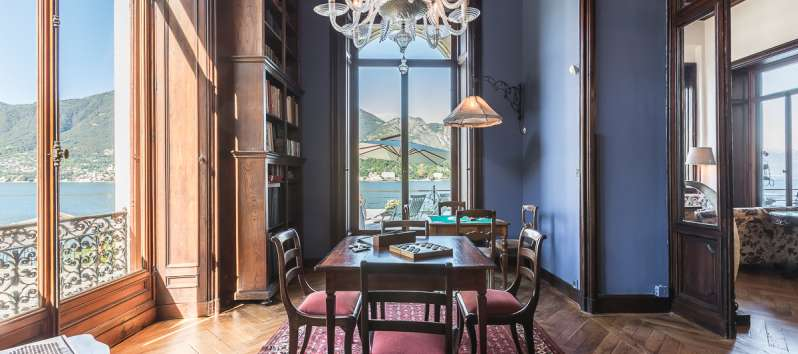 dining room with lake view in the villa in Bellagio