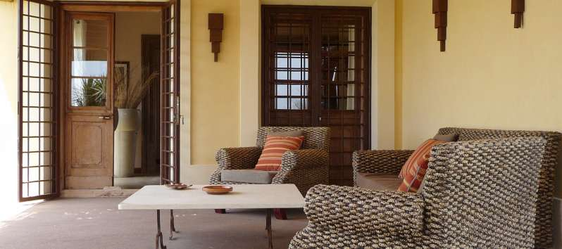 Villa Abir sophisticated colonial furniture on the veranda