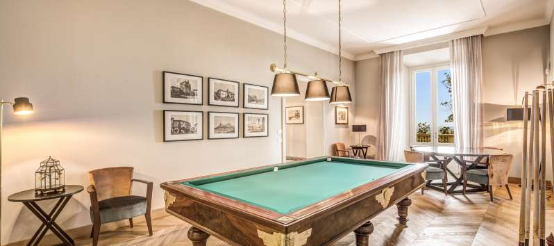 Bright room with billiards