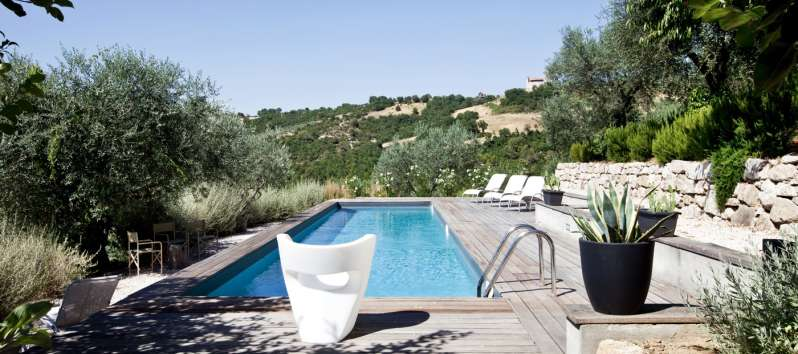 pool and view from the villa of Perugia