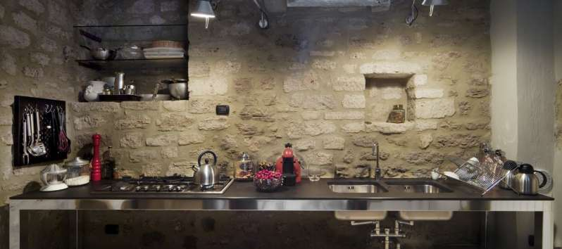 kitchen in the cellar of the villa in Perugia