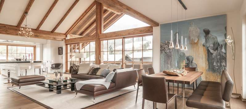 King Villa's living area boasts a view on the slopes of Hahnenkamm