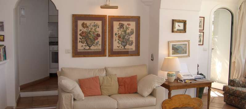 living room with sofa in the apartment on the Amalfi Coast
