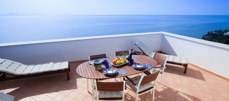terrace with sea view in the villa on the Amalfi Coast