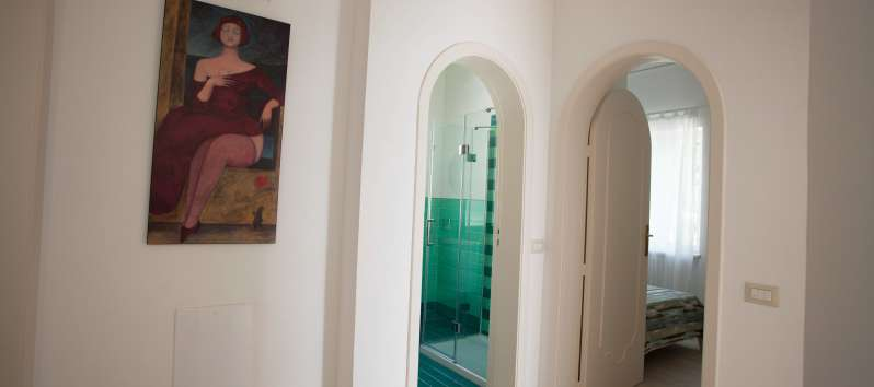 bathroom and bedroom in the villa on the Amalfi Coast