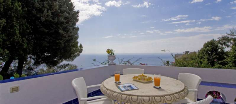 sea ​​view from the villa with pool in Amalfi