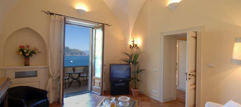 living room with sea view in the villa on the Amalfi Coast