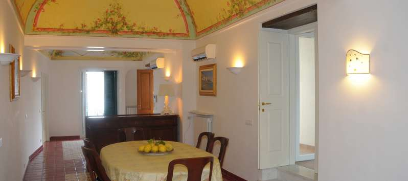 dining room in the villa with pool in Amalfi