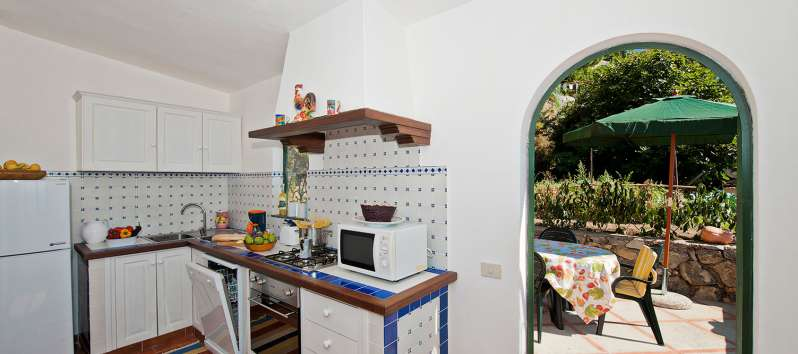 kitchen with terrace in the villa in Positano
