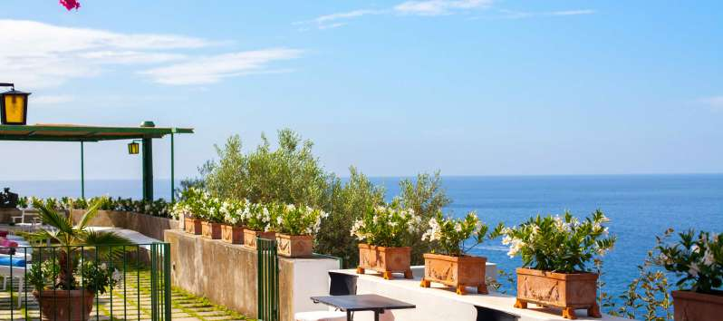 terrace of the villa with swimming pool on the Amalfi Coast