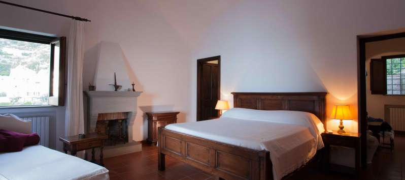 bedroom in the villa with pool on the Amalfi Coast