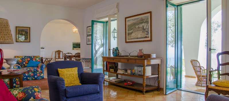 living room of the villa in Ravello