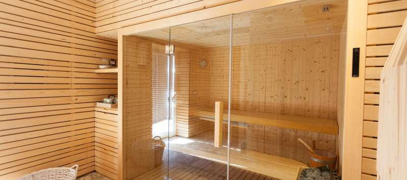 sauna with glass doors in the villa with pool on the Amalfi Coast