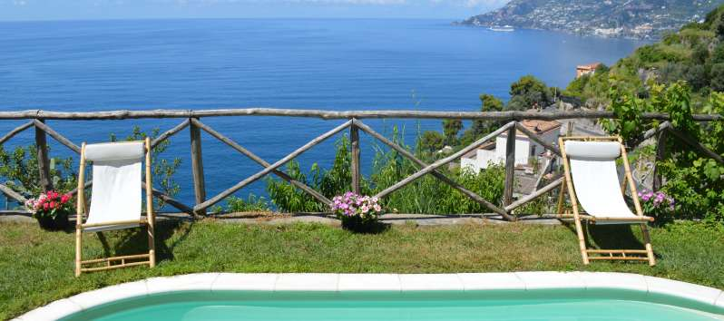 pool of the villa with sea view on the Amalfi Coast
