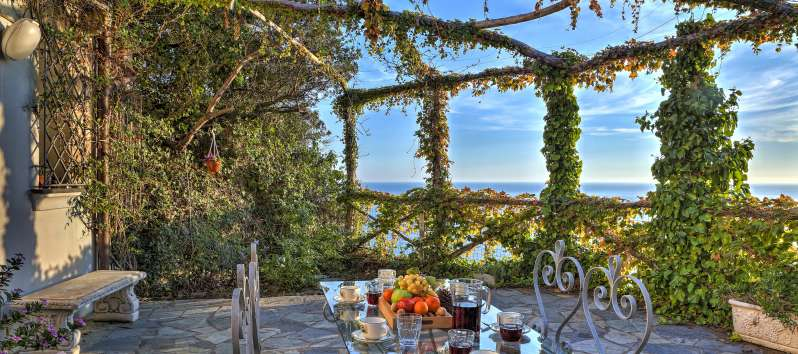 glass table with sea view in the villa on the Amalfi Coast