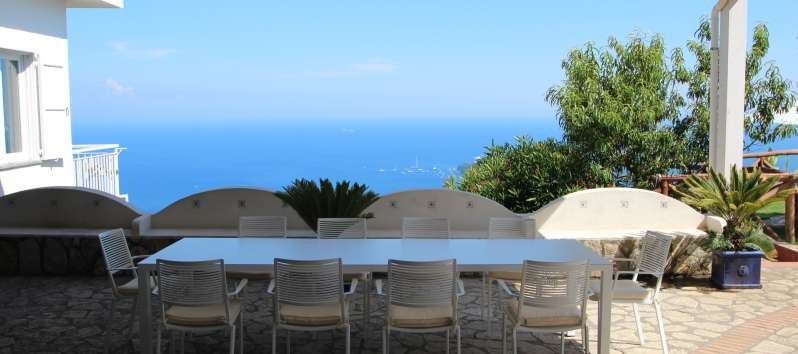 table with sea view in the villa with pool in Sorrento