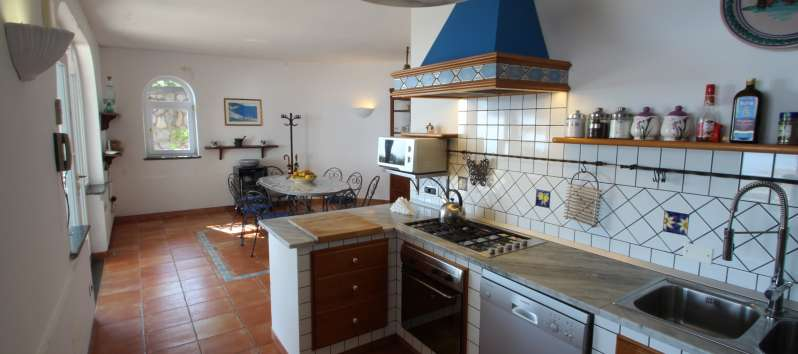 kitchen in the villa with pool in Sorrento