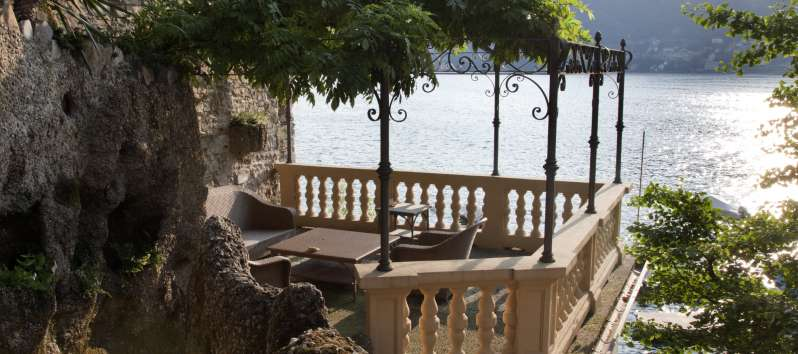 Villa Silva terrace with pergola and  panoramaview from the terrace of the villa on Lake Como