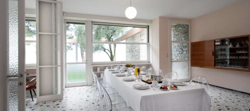 dining room in the villa on Lake Como