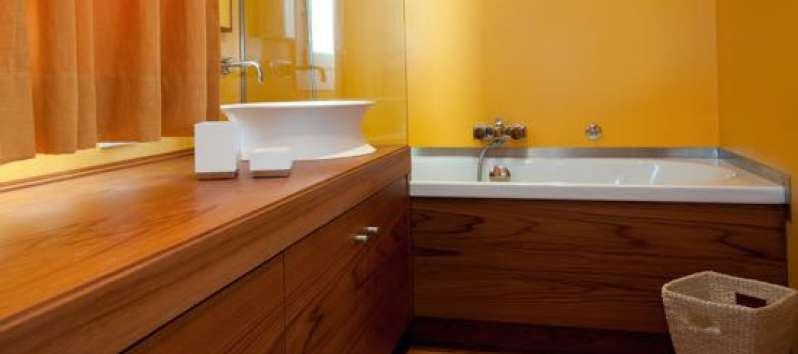 Stone Villa's yellow bathroom with tub