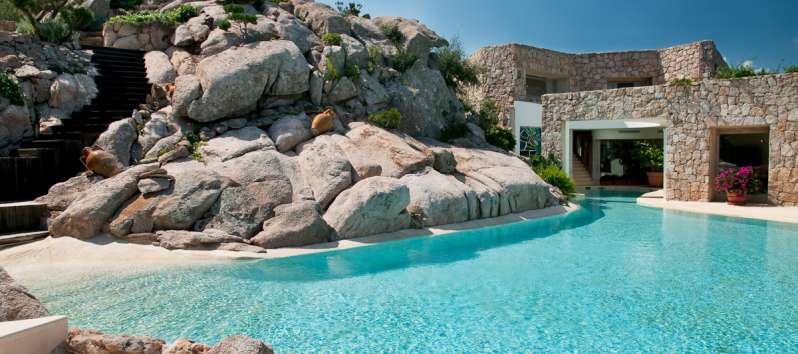 Villa Luce is carved out of the granite rocks of Porto Cervo
