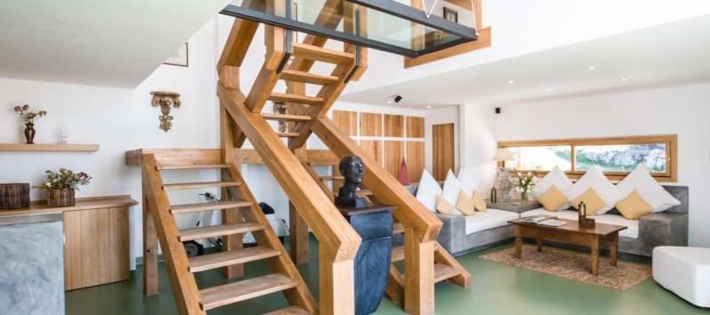 wooden stairs in the villa with swimming pool in Sardinia