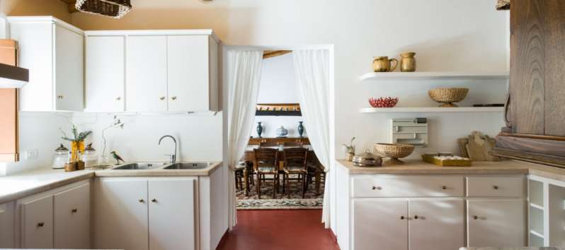 kitchen in the villa with swimming pool in Sardinia