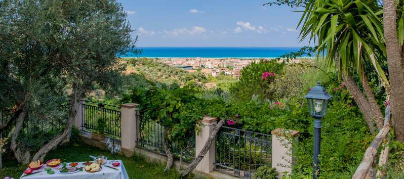 garden with sea view from the villa with swimming pool in Sicily