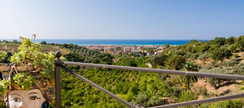 sea ​​view from the villa with swimming pool in Sicily