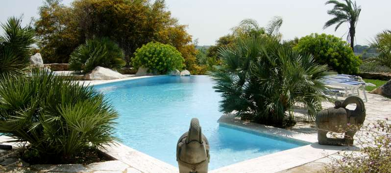 pool with garden in the villa in Trapani