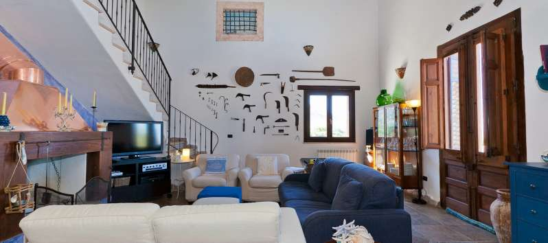 living room of the villa with pool of Castellammare del Golfo
