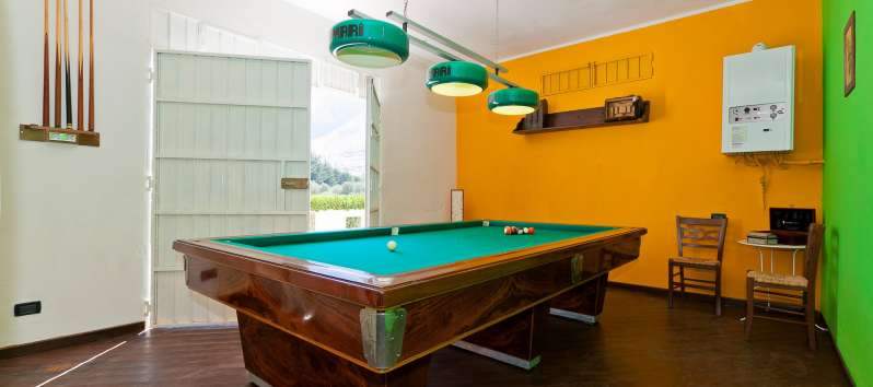 Billiard room in the villa with pool in Castellammare del Golfo