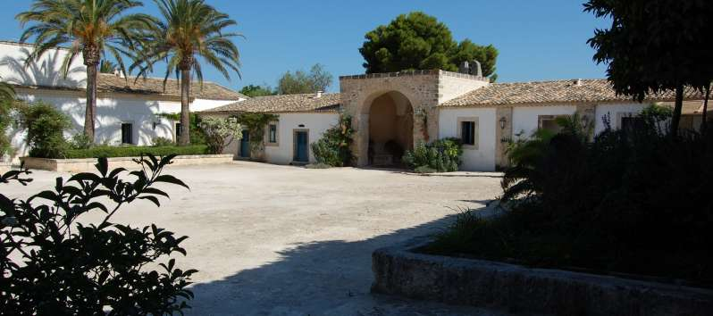 entrance of the typical villa masseria in Sicily