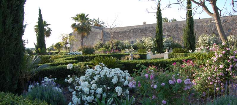 garden of the typical villa masseria in Sicily
