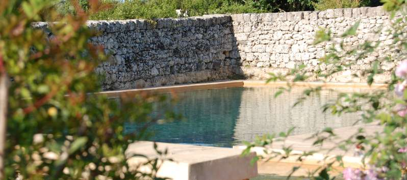 swimming pool of the typical masseria villa in Sicily