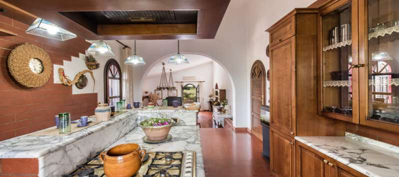 kitchen in the villa with pool in Palermo