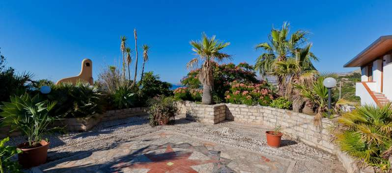 terrace of the villa with swimming pool in Trapani