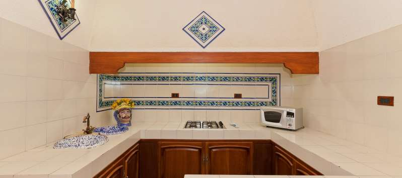 kitchen with stove and microwave in the villa with swimming pool in Trapani