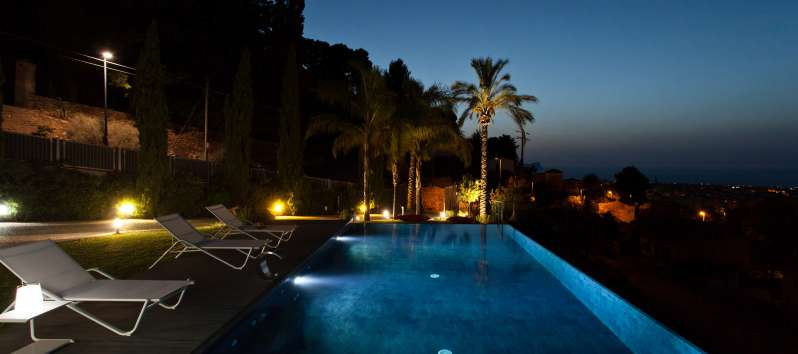 illuminated pool of the villa