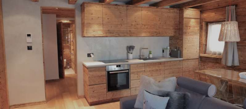 wooden kitchen in the apartment in Canton of Grisons