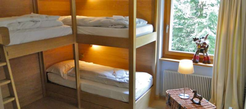 bunk bed in the apartment room in Switzerland