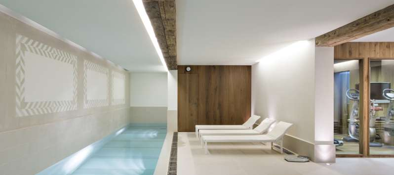 Chalet Surlej's wellness area with long pool