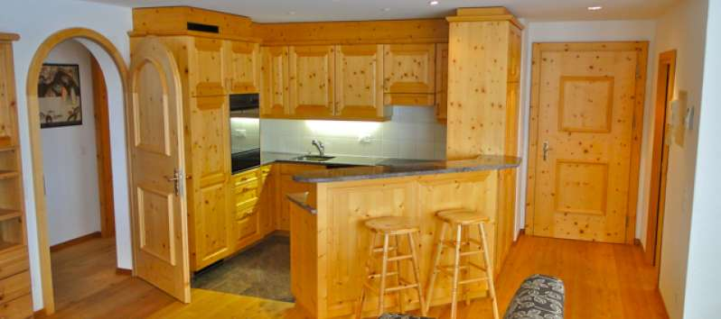 wooden kitchen in the apartment in St. Moritz