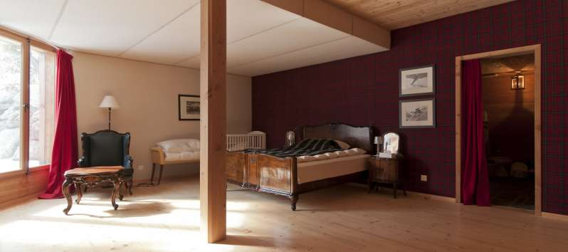 double bedroom in the villa in St. Moritz