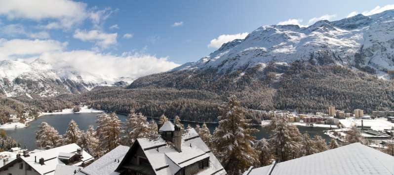 panoramic view from the villa in St. Moritz