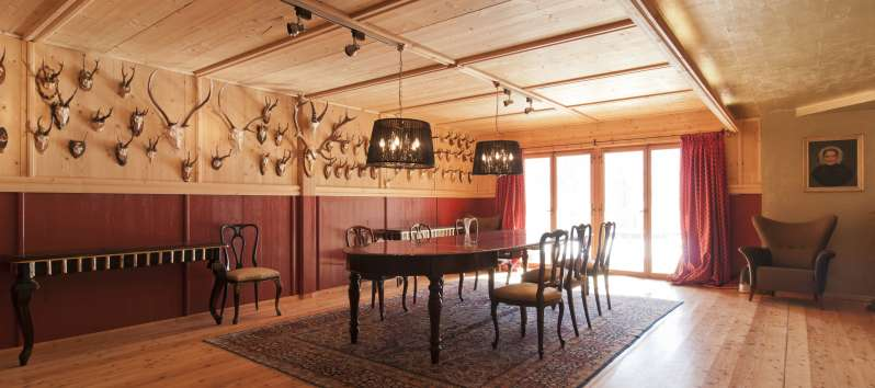 dining room in the villa in St. Moritz