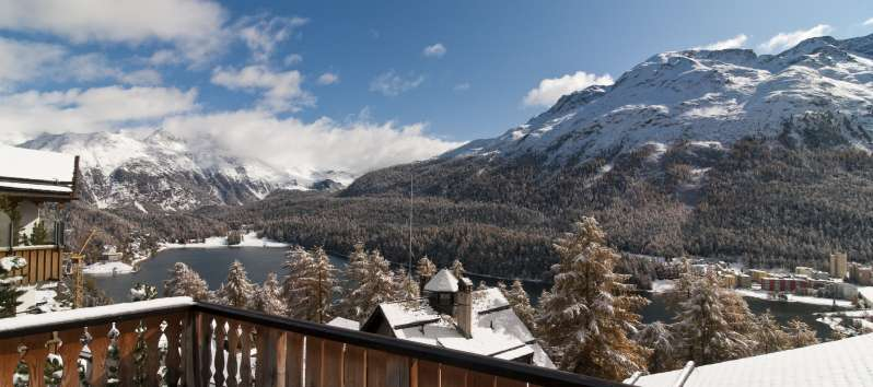 view from the balcony from the villa in St. Moritz
